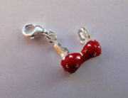 Sterling Silver Clip-on Red Enamelled Bikini top Charm